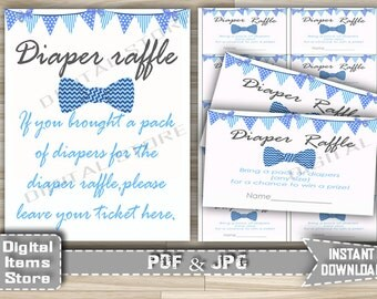 Printable Bow Tie Diaper Raffle Ticket Blue - Bow Tie Diaper Tickets - Bow Tie Diaper Raffle Sign with blue banners - Instant Download - bt1