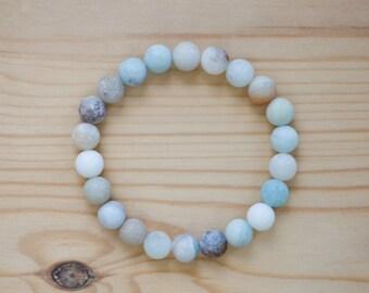 Matte Amazonite bracelet, natural matte amazonite stone bracelet