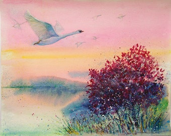 Swan painting Original watercolor painting Flying Bird painting art Original Landscape painting Nature Sunrise painting Original artwork art