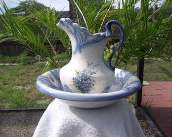 Blue and White and Floral Decorated Old Fashion Pitcure and Basin.