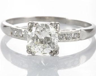Vintage .73  Diamond Engagement ring | old European | Platinum | Art Deco Circa 1930 | independent report