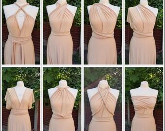Bridesmaid Dress Infinity Dress Multi-way Dress Beige Camel Infinity Bridesmaid Dresses Made to order FREE Tube Top