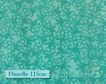 Flannel, Flowers teal, 100% Cotton