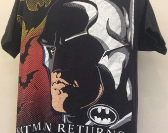 Vtg 1992 Batman Returns T-Shirt Black XL 90s Comic Book Movie Tim Burton Michael Keaton