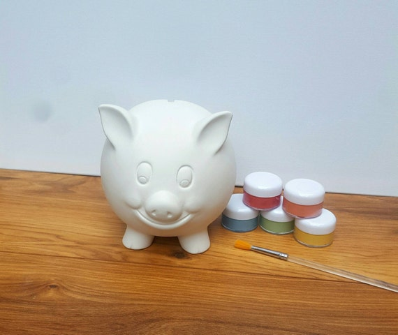 Custom piggy bank hand painted personalised money bank ceramic for Make your own piggy bank