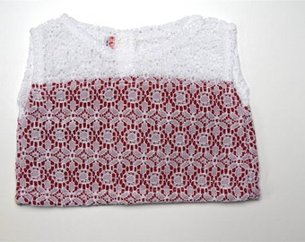 Red on White Lace top 18 inch doll clothes