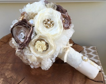 Fabric Wedding bouquet, Vintage inspired, handmade, brooch and jewellery embellishments, Ivory, chocolate browns, champagne, alernative
