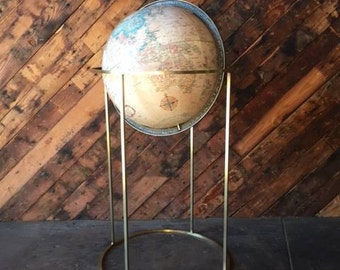 Paul McCobb Style Mid Century Brass stand with Globe