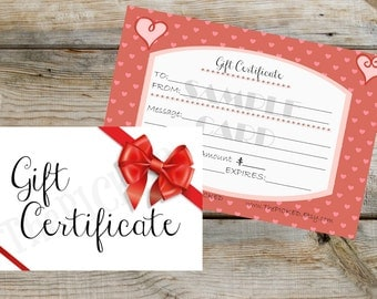 Valentine's Day Gift Certificate-Gift Card-Shopping-Gift Idea-Him-Order-Romance
