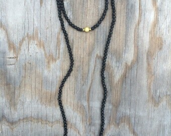 Long Beaded Double Wrap Choker Collar Necklace with Black Lava Rock Bead and Gold Ball Pendant