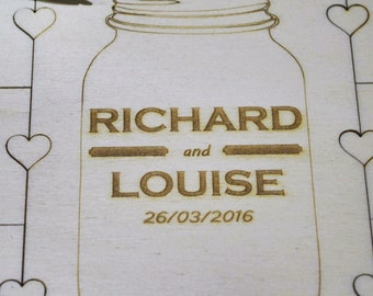 Wedding puzzle guest book personalised, with a cute mason jar design,jigsaw guestbook,Personalized guestbook