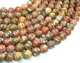 Leopard Skin Jasper, 10mm Round Beads, 15 Inch, Full strand, Approx 38 beads, Hole 1 mm (306054002)