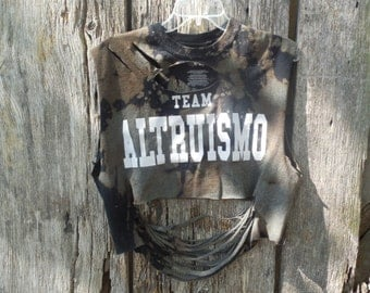 Custom Med Bleached slashed ultra short crop top muscle t shirt Team Altruismo One of a kind ripped shredded torn sleeveless grunge womens