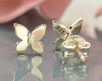 Sterling Silver Tiny Butterfly Post Earrings - 1 Pair