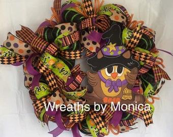 Deco Mesh Halloween Wreath, Halloween Wreath with Owl, Owl Halloween Wreath,  Halloween Decor, Halloween Door Wreath, Owl Wreath , Owl Decor