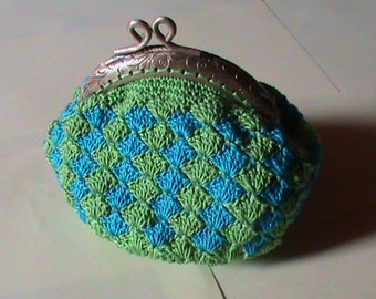 coin purse crochet green and blue