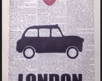 London Black Cab Taxi Print Vintage Dictionary Page Wall Art Picture British Queen