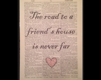 Best Friend Quote Print Vintage Dictionary Book Page Wall Art Picture Gift Cute Friendship Quirky Funky Home Decor