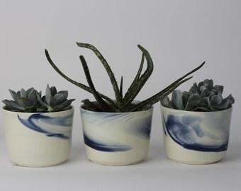 PLANTER SET Small. Indigo Marbled Ceramic/Pottery Bowl/Planter
