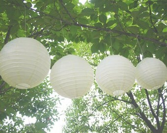 Ivory Paper Lantern Lampshade Christmas Event Wedding Reception Hanging Decoration