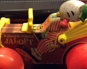 Fisher Price Clown in Jalopy Pull Toy