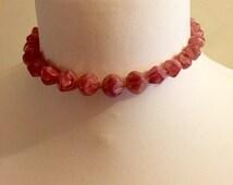 Vintage Pink Glass Necklace