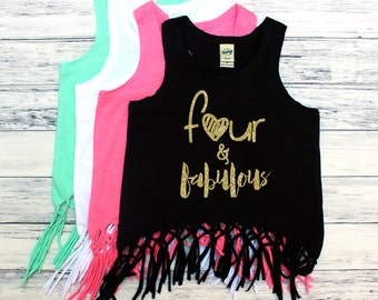 Four and Fabulous - Fringe Tank Top - Fourth Birthday - FOUR Year old - Toddler Girl - Glitter - Tank Tops - Summer Birthday - Birthday Girl