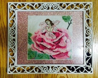 Fairy in a Rose Framed Cross Stitch