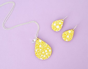 Sterling silver jewellery set, yellow jewellery set, yellow necklace, silver necklace, yellow earrings, silver earrings, gift for her