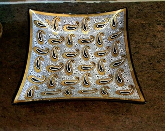 Vintage George Briard Style Glass Serving Tray, mid-century glass dish, retro barware, paisley design, white black and gold