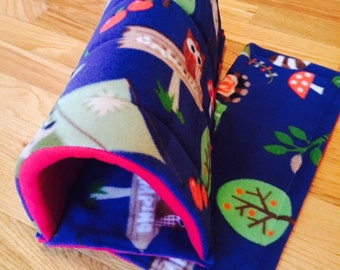 Guinea Pig Fleece Cozy Tunnel | Forest Friends/Red