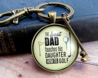 "The Best Dad Teaches His Daughter How to Golf Father's Day Gift To Dad From Daughter for Golfers Keychain 1.20"", Bronze Golf Club Charm"