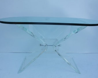 Vintage Butterfly Lucite Base Console Or Desk  Table .
