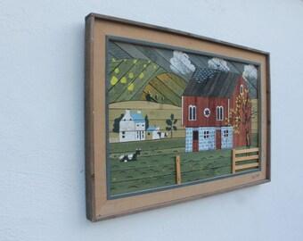 Theodore  Degroot  Original Rustic/Folk Lath Art Pictute.