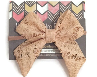 Tan Lace Tailed Fabric Bow