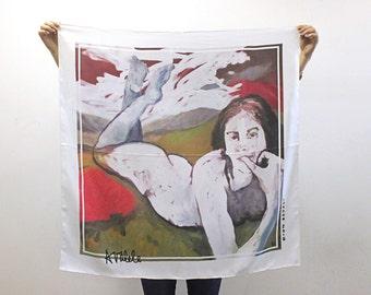 Designer silk twill scarf / brand Avalele / 90x90cm / Guardian