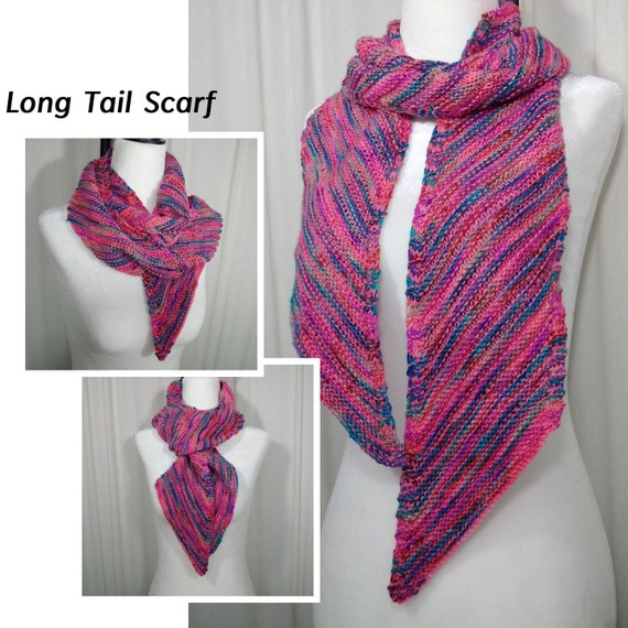 Knitting Pattern / Recipe for the Long Tail Scarf in DK & Worsted yarns f...