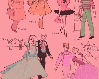 Instant PDF Download Vintage Sewing Pattern a Super Wardrobe of Teenage Doll Clothes for Eleven and a Half Inch Dolls Like Barbie & Ken