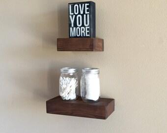 Set of 2 Rustic Floating Shelves - Small -(floating shelf, kitchen shelf, wood shelves)