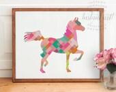 Mosaic horse print PRINTABLE art,abstract wall art,colorful wall art,nursery printable,horse silhouette art,girls room decor,printable decor
