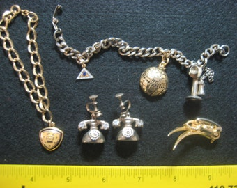 Rare and Delightful Vintage Telephones Earrings, 2 Bracelets and pin