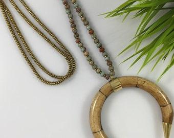 Pamploma Snakeskin Horn Pendant