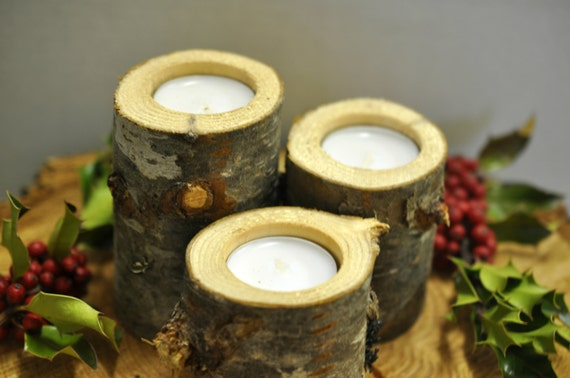 Rustic candle holders holder wood