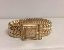 "Vintage Expansion Bracelet – Hallmarked Speidel – Monogrammed ""M"" with Pearl Beads – Locket – Sweetheart Bracelet – Art Deco"