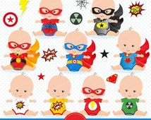 80% OFF SALE Superheroes baby clipart, superheroes tees, superhero babysuit, baby superhero, baby clothes clipart - CA172