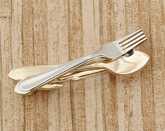 Spoon Fork Tie Clip Foodie Chef Clasp Bar Cook Wedding Gift Culinary Utensils Cooking