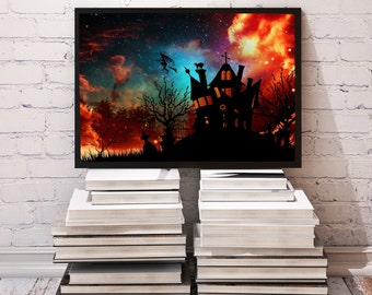 Halloween poster Witch's House decor Tombstone print