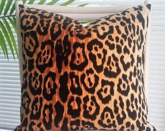 Braemore Jamil Leopard Cheetah Animal Print Velvet Pillow Cover - black, amber, gold, cream