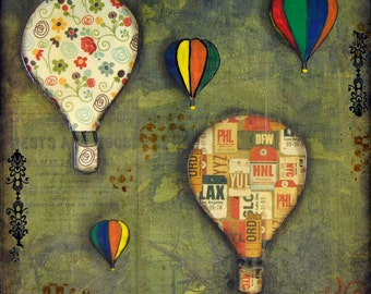 Balloons Mixed Media collage, 8x8, folk art, original, whimsical