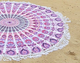 Pink White fringe roundie 150 cm